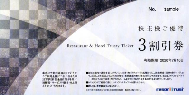 リゾートトラスト 株主優待券(3割引)
