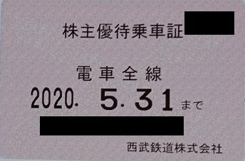 西武鉄道 株主優待乗車証 販売中